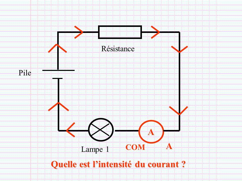 Lampe 1 Pile Résistance A A COM Quelle est lintensité du courant ?