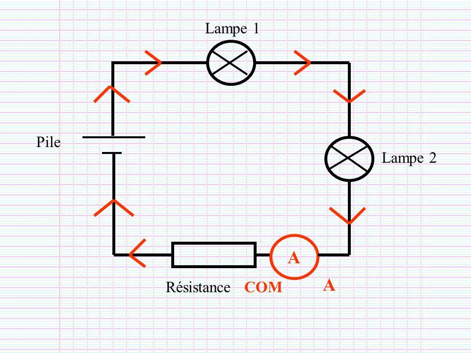Lampe 1 Lampe 2 Pile Résistance A A COM