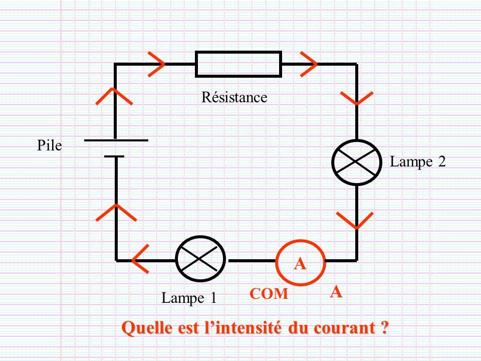 Lampe 1 Pile Résistance A A COM Lampe 2 Quelle est lintensité du courant ?