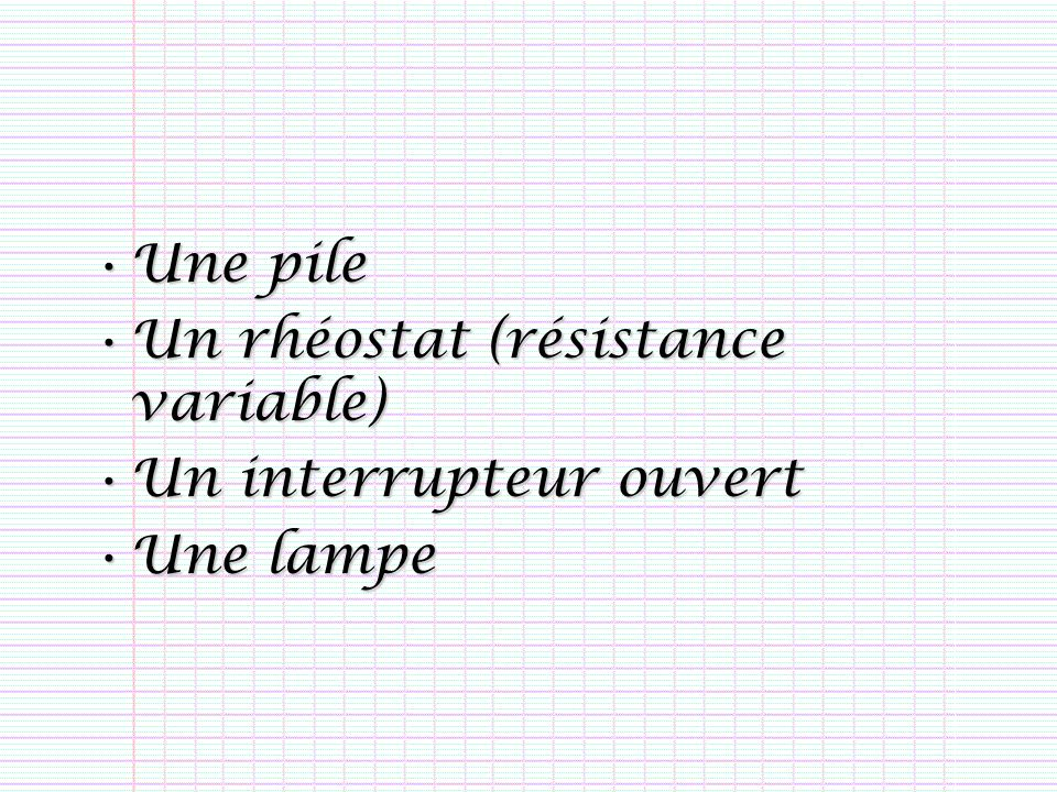 Une pileUne pile Un rhéostat (résistance variable)Un rhéostat (résistance variable) Un interrupteur ouvertUn interrupteur ouvert Une lampeUne lampe