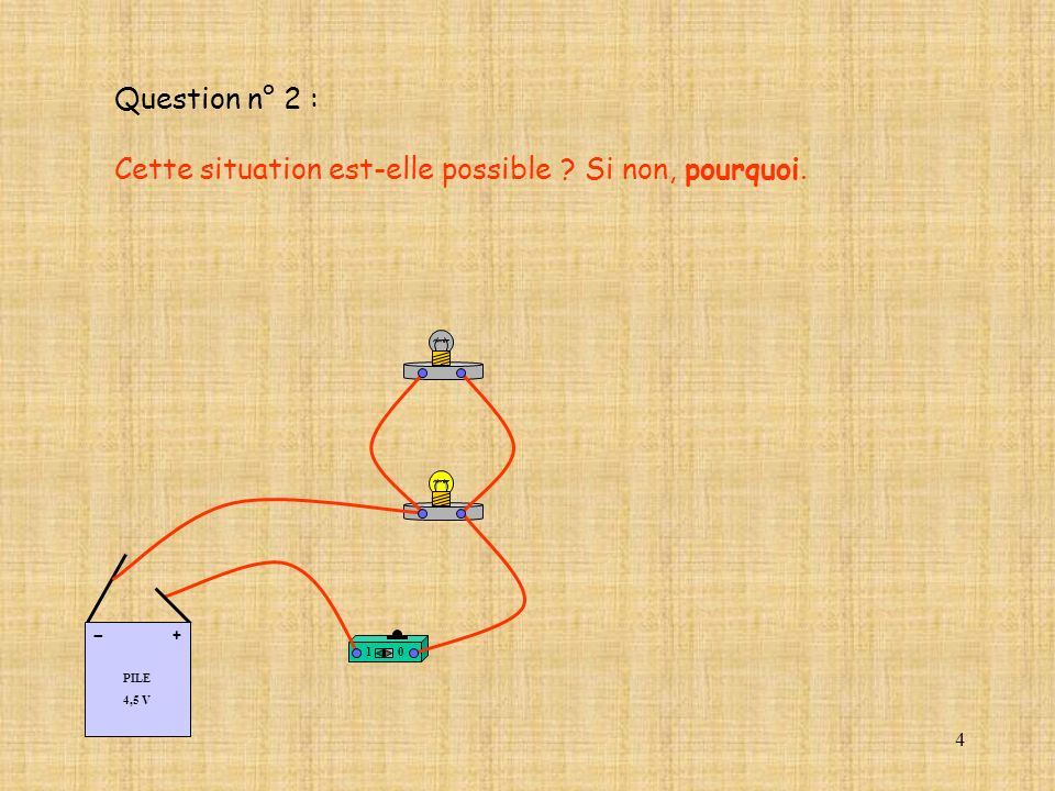 4 Question n° 2 : Cette situation est-elle possible ? Si non, pourquoi. 10 PILE 4,5 V + -