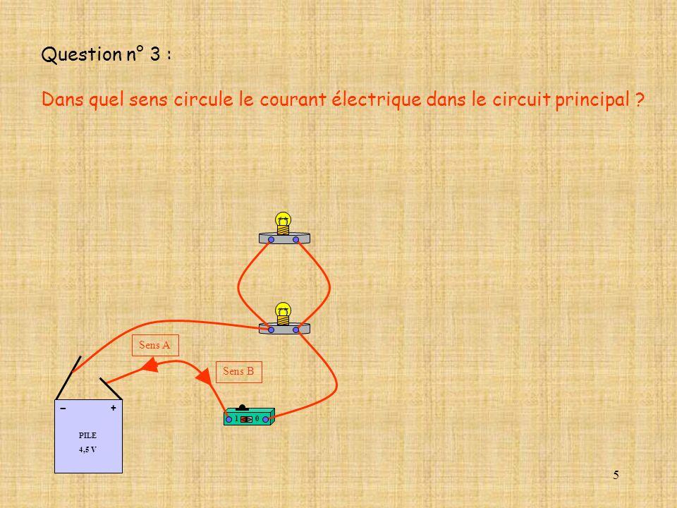 5 Question n° 3 : Dans quel sens circule le courant électrique dans le circuit principal ? Sens A Sens B 10 PILE 4,5 V + -
