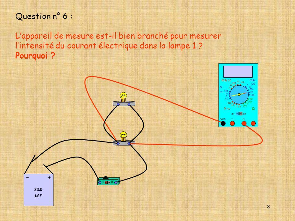 8 Question n° 6 : Lappareil de mesure est-il bien branché pour mesurer lintensité du courant électrique dans la lampe 1 ? Pourquoi ? 10 A Com mA DC A