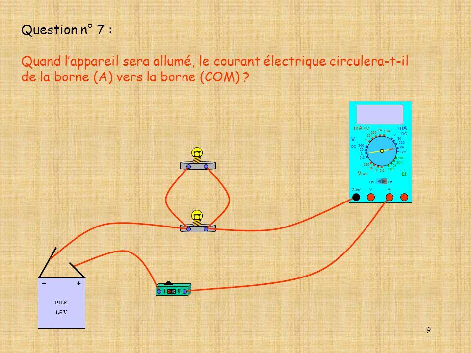 9 Question n° 7 : Quand lappareil sera allumé, le courant électrique circulera-t-il de la borne (A) vers la borne (COM) ? 10 PILE 4,5 V + - 10 A Com m