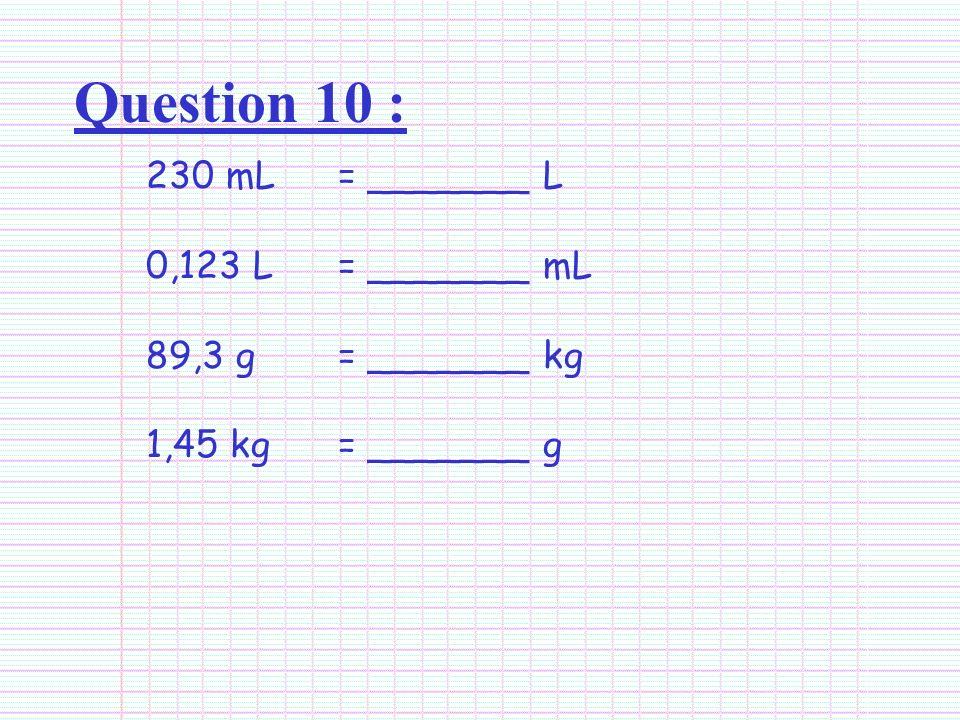 Question 10 : 230 mL = _______ L 0,123 L= _______ mL 89,3 g = _______ kg 1,45 kg= _______ g