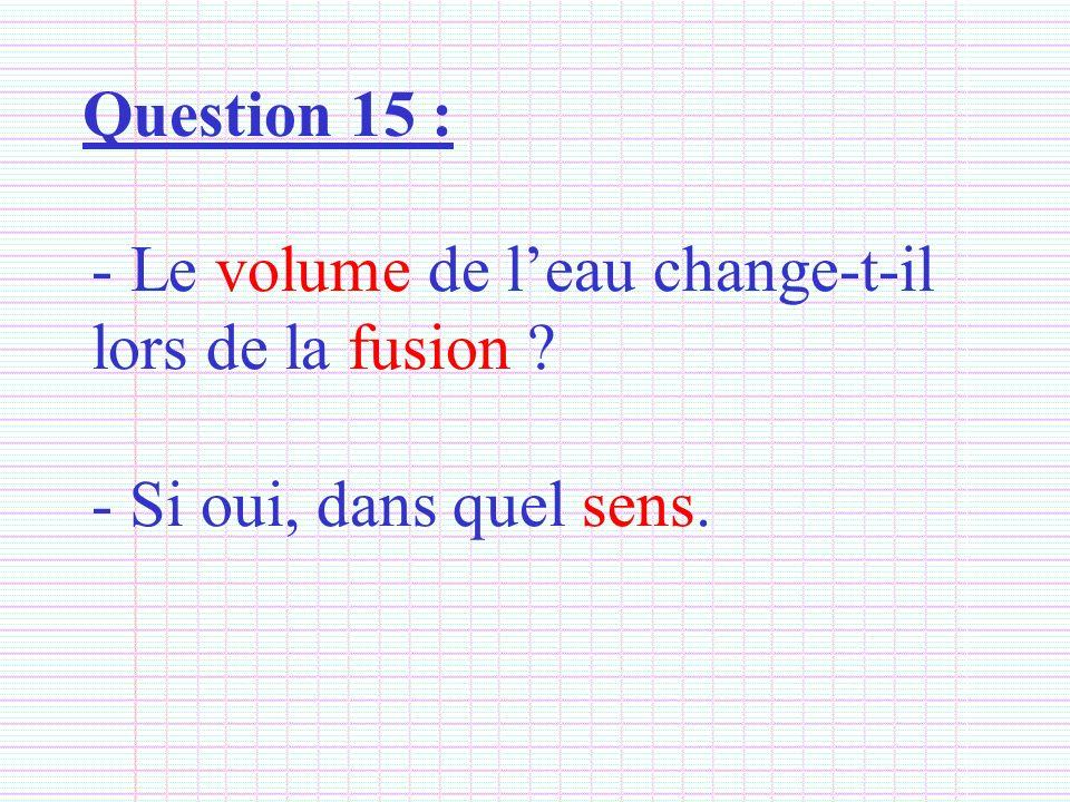Question 15 : - Le volume de leau change-t-il lors de la fusion ? - Si oui, dans quel sens.