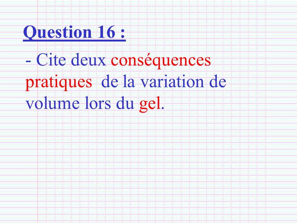 Question 16 : - Cite deux conséquences pratiques de la variation de volume lors du gel.