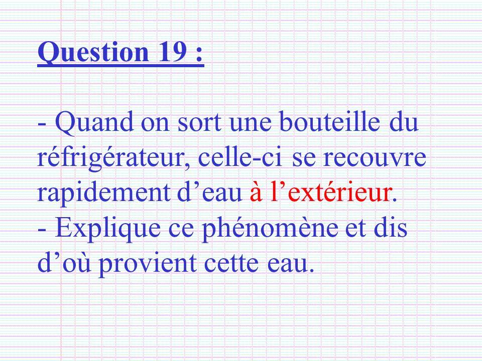 Question 19 : - Quand on sort une bouteille du réfrigérateur, celle-ci se recouvre rapidement deau à lextérieur. - Explique ce phénomène et dis doù pr