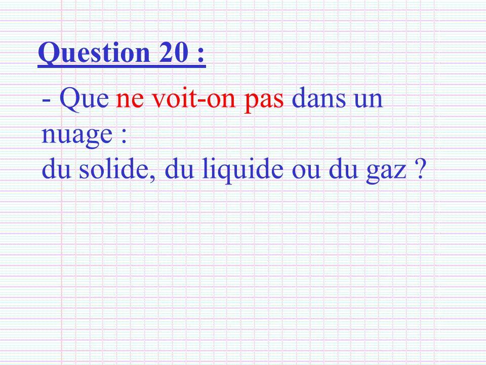 Question 20 : - Que ne voit-on pas dans un nuage : du solide, du liquide ou du gaz ?