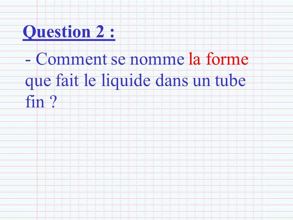 Question 2 : - Comment se nomme la forme que fait le liquide dans un tube fin ?