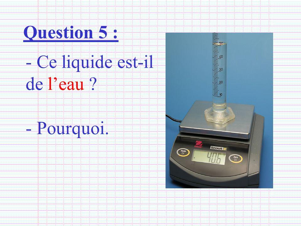 Question 5 : - Ce liquide est-il de leau ? - Pourquoi.
