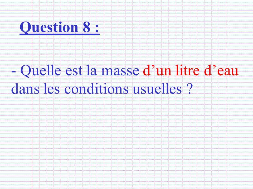 Question 8 : - Quelle est la masse dun litre deau dans les conditions usuelles ?