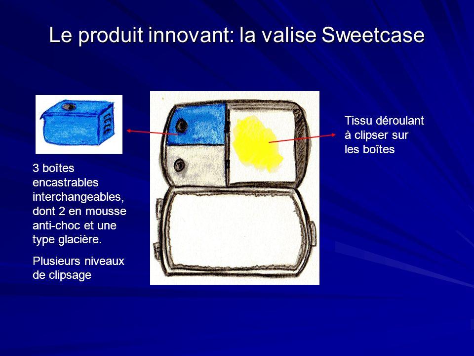 Le produit innovant: la valise Sweetcase 3 boîtes encastrables interchangeables, dont 2 en mousse anti-choc et une type glacière. Plusieurs niveaux de