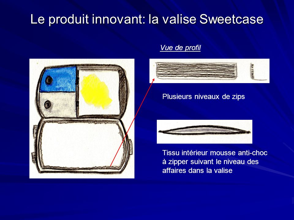 Le produit innovant: la valise Sweetcase Vue de profil Plusieurs niveaux de zips Tissu intérieur mousse anti-choc à zipper suivant le niveau des affai
