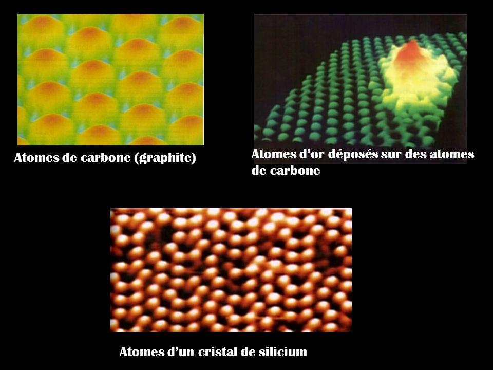 Atomes dun cristal de silicium Atomes de carbone (graphite) Atomes dor déposés sur des atomes de carbone