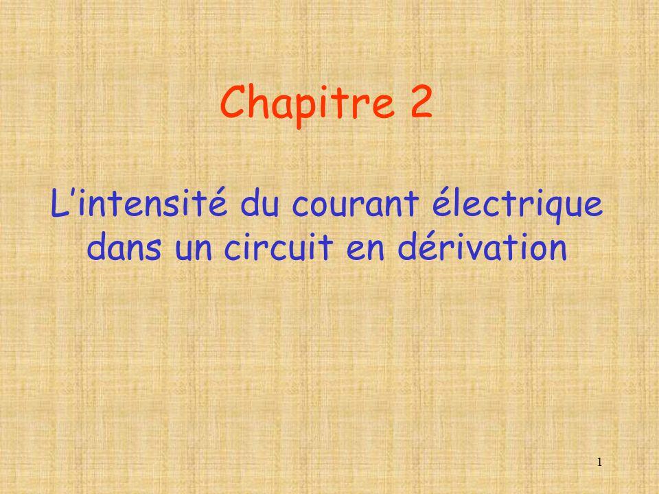 1 Chapitre 2 Lintensité du courant électrique dans un circuit en dérivation