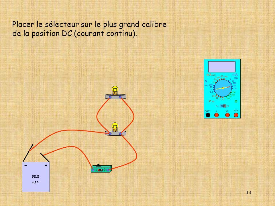 14 10 A Com mA DC A OffOn 10A 2A 200 20 V 2 V AC mA AC V DC 2M 20k 2k 200 0.2 2 200 20 2 0.2 2 20 200 Placer le sélecteur sur le plus grand calibre de