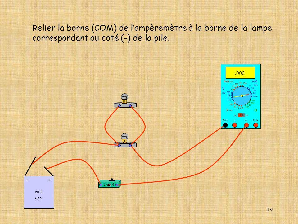 19 Relier la borne (COM) de lampèremètre à la borne de la lampe correspondant au coté (-) de la pile. 10 A Com mA DC A OffOn 10A 2A 200 20 V 2 V AC mA