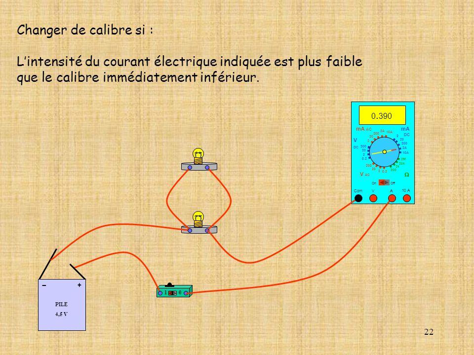 22 Changer de calibre si : Lintensité du courant électrique indiquée est plus faible que le calibre immédiatement inférieur. 10 PILE 4,5 V + - 10 A Co