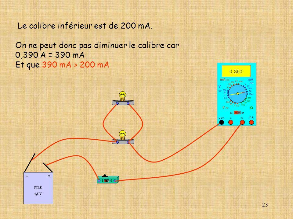 23 Le calibre inférieur est de 200 mA. On ne peut donc pas diminuer le calibre car 0,390 A = 390 mA Et que 390 mA > 200 mA 10 PILE 4,5 V + - 10 A Com