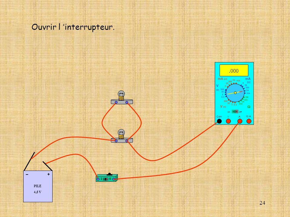 24 Ouvrir l interrupteur. 10 PILE 4,5 V + - 10 A Com mA DC A OffOn 10A 2A 200 20 V 2 V AC mA AC V DC 2M 20k 2k 200 0.2 2 200 20 2 0.2 2 20 200 10A 2A