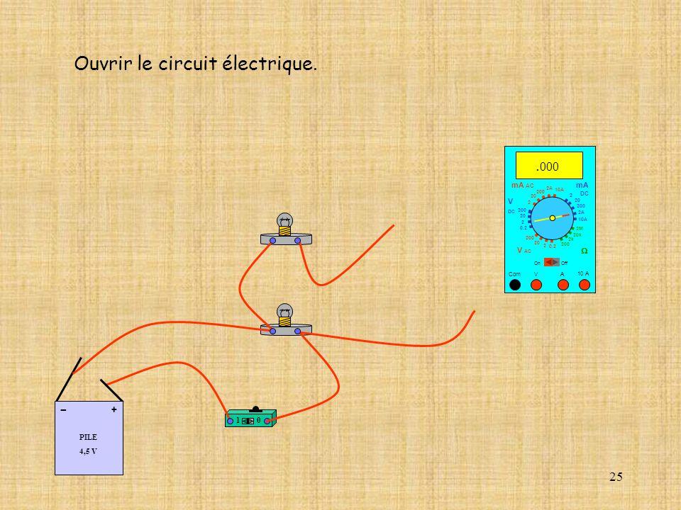25 10 A Com mA DC A OffOn 10A 2A 200 20 V 2 V AC mA AC V DC 2M 20k 2k 200 0.2 2 200 20 2 0.2 2 20 200 Ouvrir le circuit électrique. 10A 2A 200 20. 000