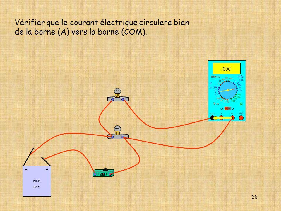 28 Vérifier que le courant électrique circulera bien de la borne (A) vers la borne (COM). 10 A Com mA DC A OffOn 10A 2A 200 20 V 2 V AC mA AC V DC 2M