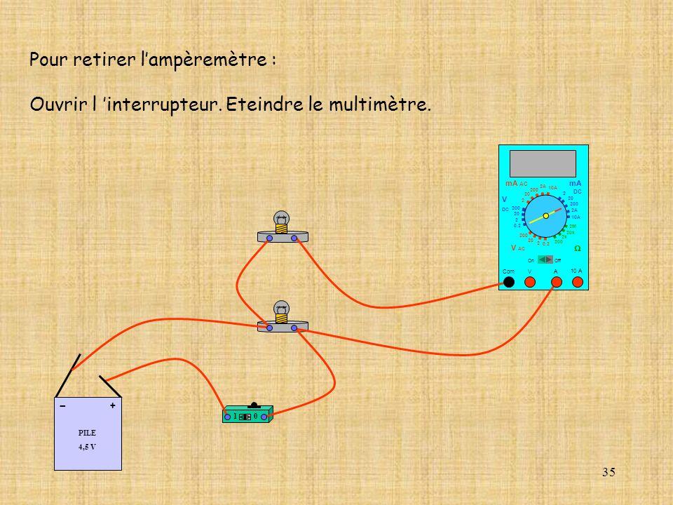 35 Pour retirer lampèremètre : Ouvrir l interrupteur. Eteindre le multimètre. 10 A Com mA DC A OffOn 10A 2A 200 20 V 2 V AC mA AC V DC 2M 20k 2k 200 0