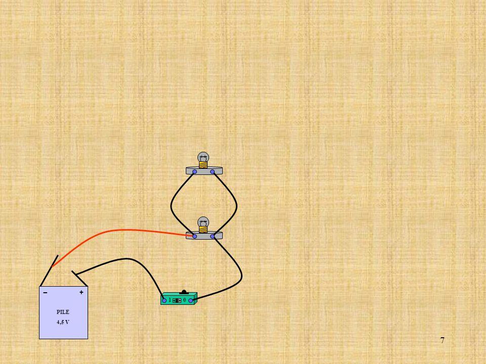 18 Relier le fil correspondant au coté (+) de la pile à la borne (A) de lampèremètre.