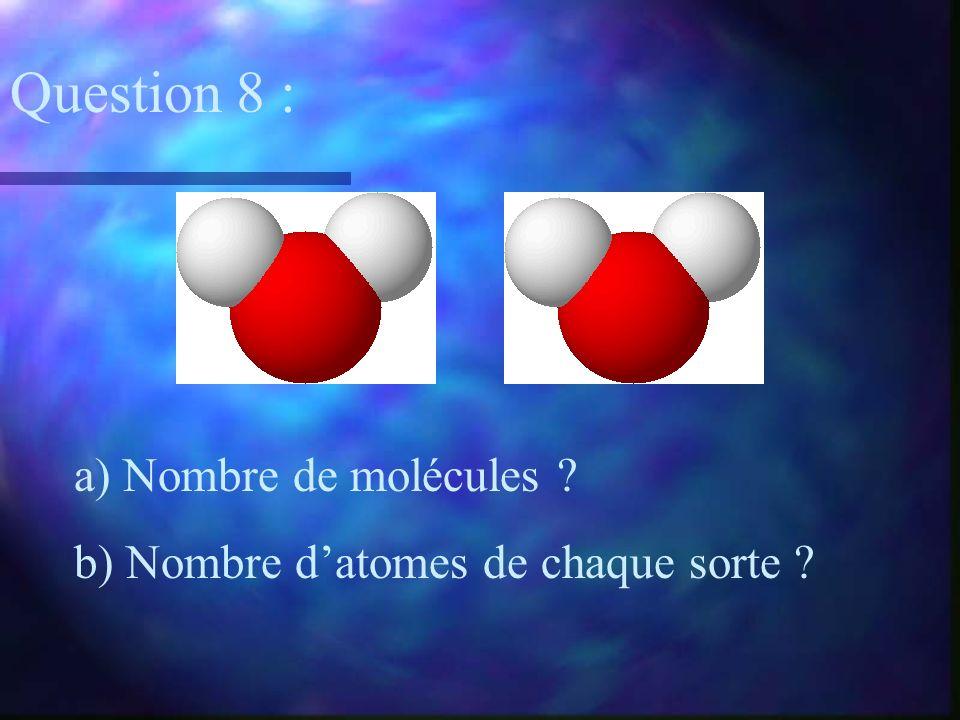 a) Nombre de molécules ? b) Nombre datomes de chaque sorte ? Question 8 :
