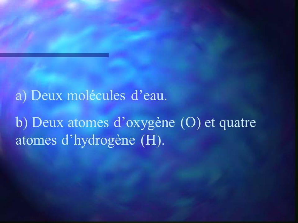 a) Deux molécules deau. b) Deux atomes doxygène (O) et quatre atomes dhydrogène (H).