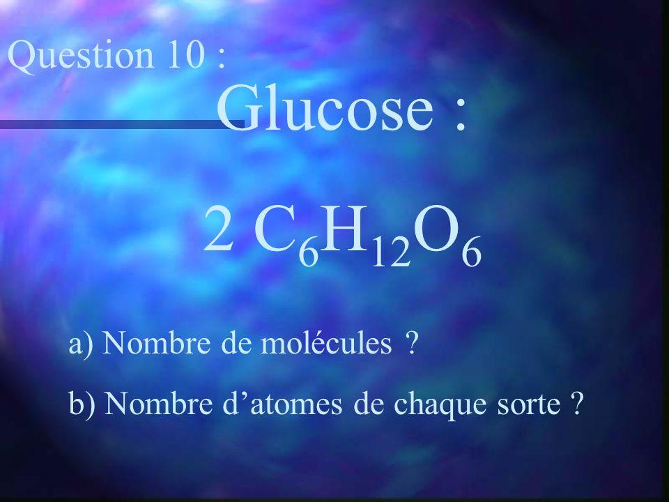 Glucose : 2 C 6 H 12 O 6 a) Nombre de molécules ? b) Nombre datomes de chaque sorte ? Question 10 :