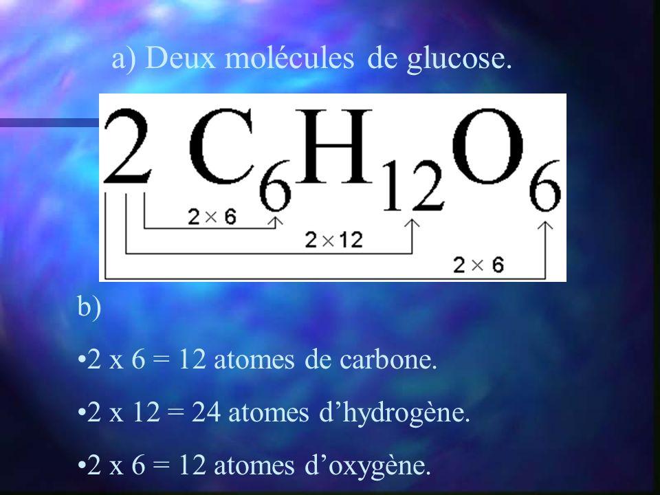 a) Deux molécules de glucose. b) 2 x 6 = 12 atomes de carbone. 2 x 12 = 24 atomes dhydrogène. 2 x 6 = 12 atomes doxygène.