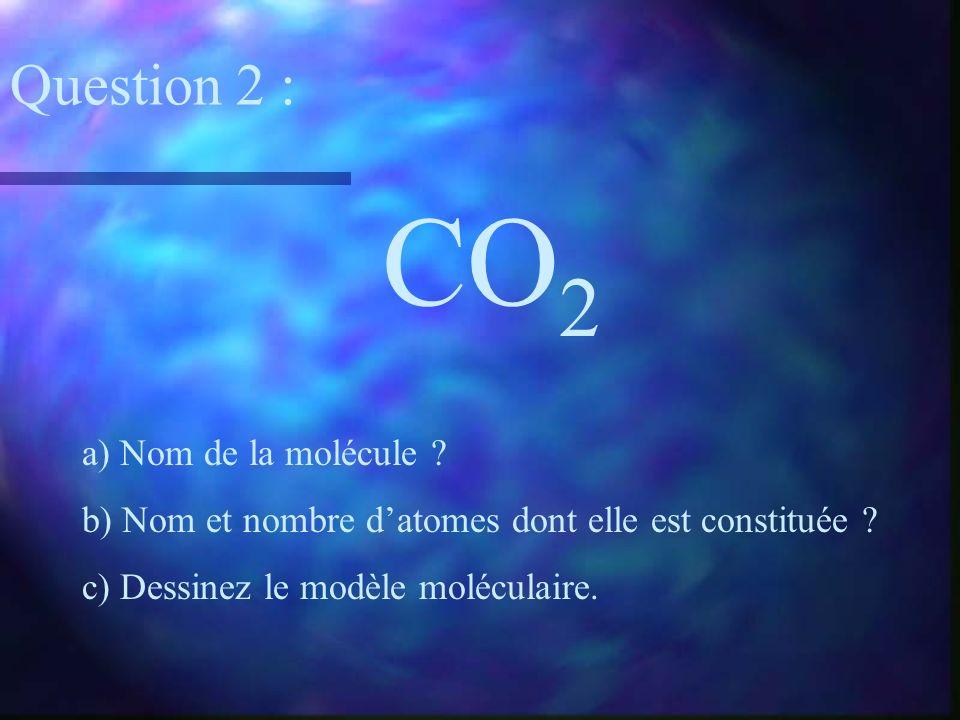 CO 2 a) Nom de la molécule ? b) Nom et nombre datomes dont elle est constituée ? c) Dessinez le modèle moléculaire. Question 2 :