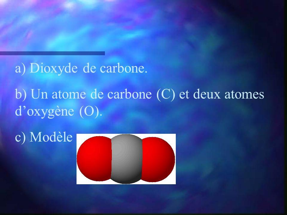 a) Dioxyde de carbone. b) Un atome de carbone (C) et deux atomes doxygène (O). c) Modèle :