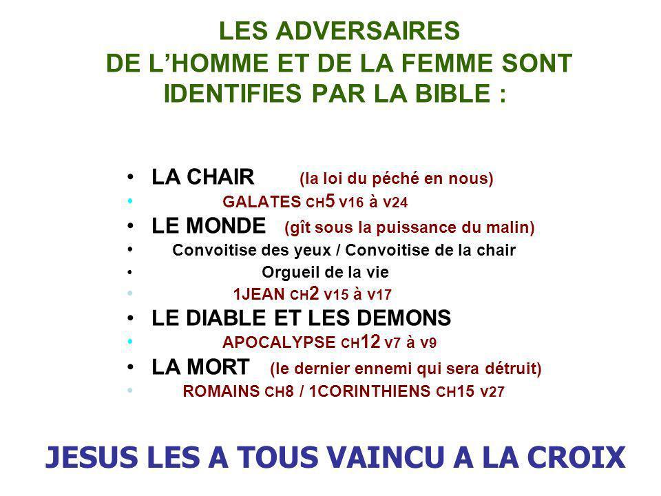 LES ADVERSAIRES DE LHOMME ET DE LA FEMME SONT IDENTIFIES PAR LA BIBLE : LA CHAIR (la loi du péché en nous) GALATES CH 5 v 16 à v 24 LE MONDE (gît sous