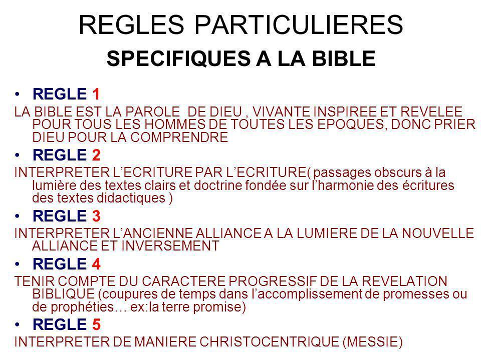 REGLES PARTICULIERES SPECIFIQUES A LA BIBLE REGLE 1 LA BIBLE EST LA PAROLE DE DIEU, VIVANTE INSPIREE ET REVELEE POUR TOUS LES HOMMES DE TOUTES LES EPO