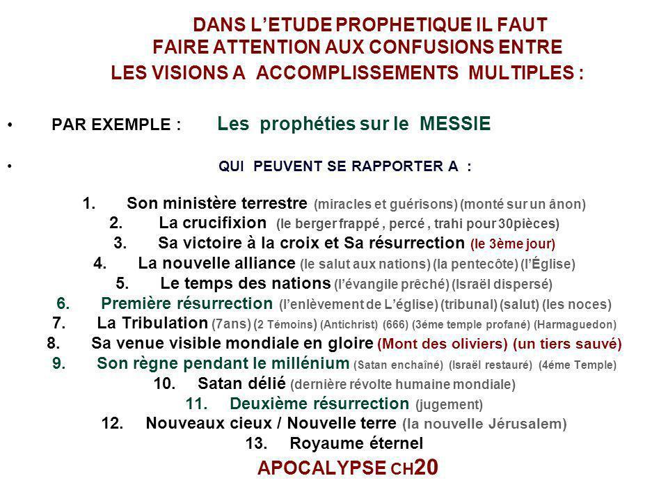 DANS LETUDE PROPHETIQUE IL FAUT FAIRE ATTENTION AUX CONFUSIONS ENTRE LES VISIONS A ACCOMPLISSEMENTS MULTIPLES : PAR EXEMPLE : Les prophéties sur le ME
