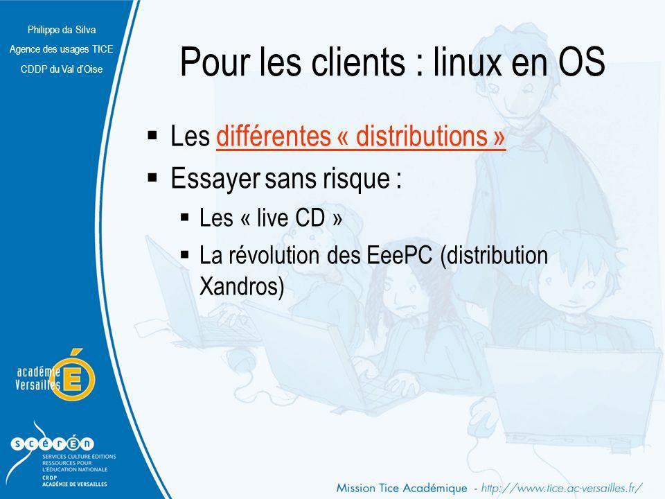 Philippe da Silva Agence des usages TICE CDDP du Val dOise Pour les clients : linux en OS Les différentes « distributions »différentes « distributions