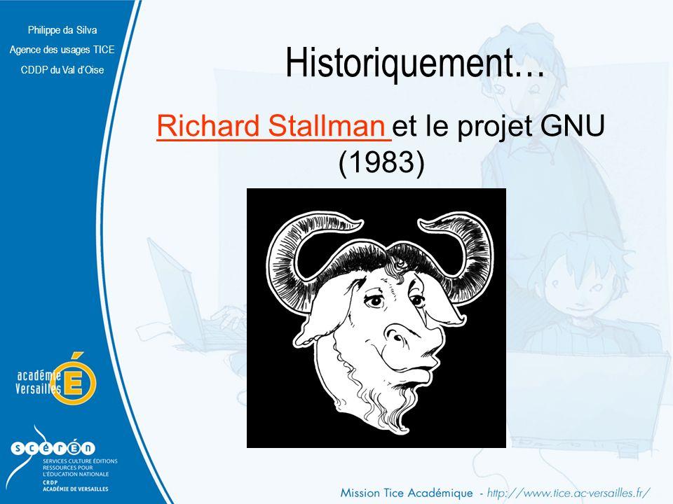 Philippe da Silva Agence des usages TICE CDDP du Val dOise Historiquement… Richard Stallman Richard Stallman et le projet GNU (1983)