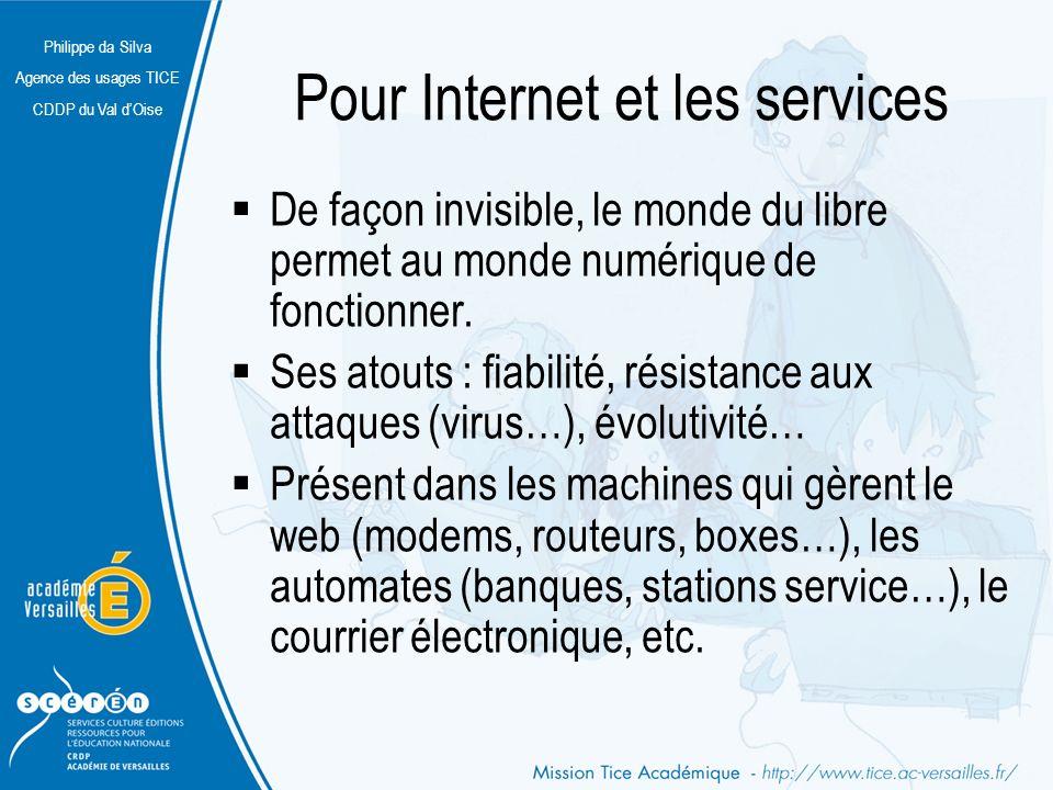Philippe da Silva Agence des usages TICE CDDP du Val dOise Pour Internet et les services De façon invisible, le monde du libre permet au monde numériq