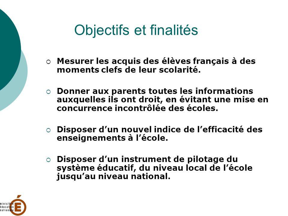 Objectifs et finalités Mesurer les acquis des élèves français à des moments clefs de leur scolarité.
