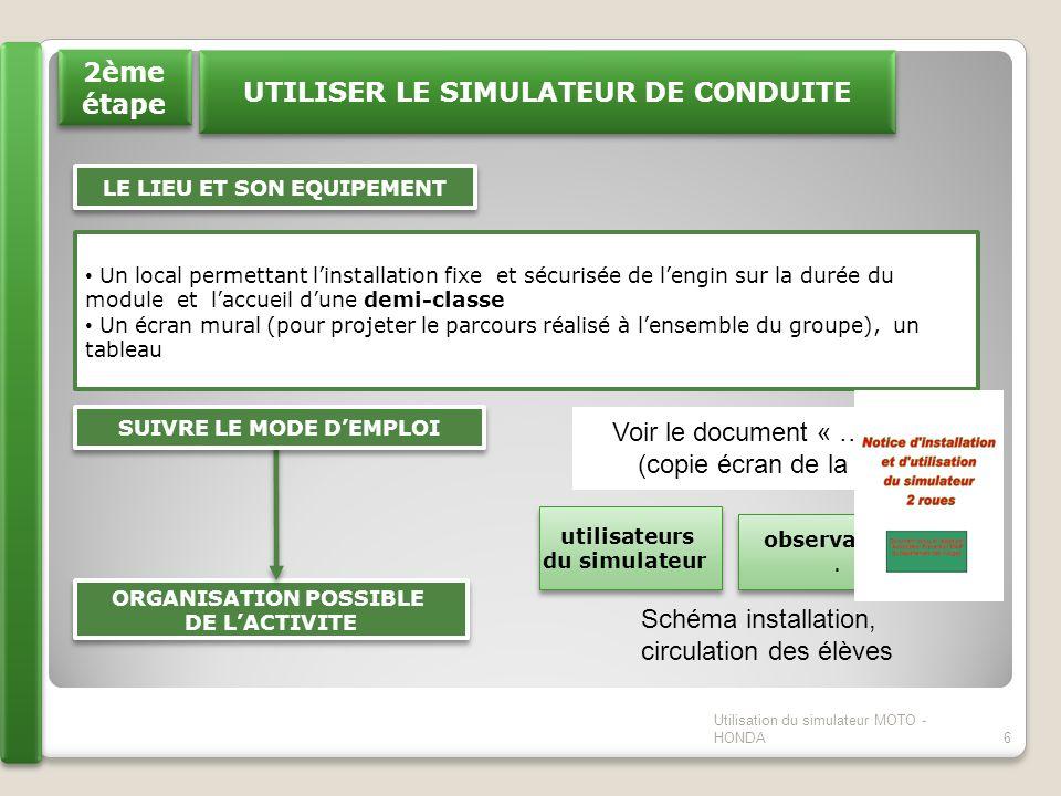 UTILISER LE SIMULATEUR DE CONDUITE LE LIEU ET SON EQUIPEMENT Un local permettant linstallation fixe et sécurisée de lengin sur la durée du module et l