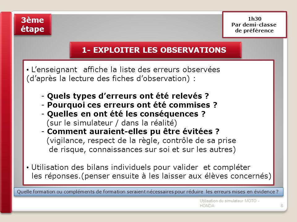 1h30 Par demi-classe de préférence 1- EXPLOITER LES OBSERVATIONS Lenseignant affiche la liste des erreurs observées (daprès la lecture des fiches dobs