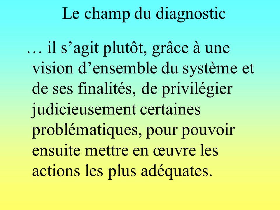 Le champ du diagnostic … il sagit plutôt, grâce à une vision densemble du système et de ses finalités, de privilégier judicieusement certaines problématiques, pour pouvoir ensuite mettre en œuvre les actions les plus adéquates.