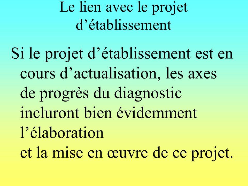 Le lien avec le projet détablissement Si le projet détablissement est en cours dactualisation, les axes de progrès du diagnostic incluront bien évidemment lélaboration et la mise en œuvre de ce projet.