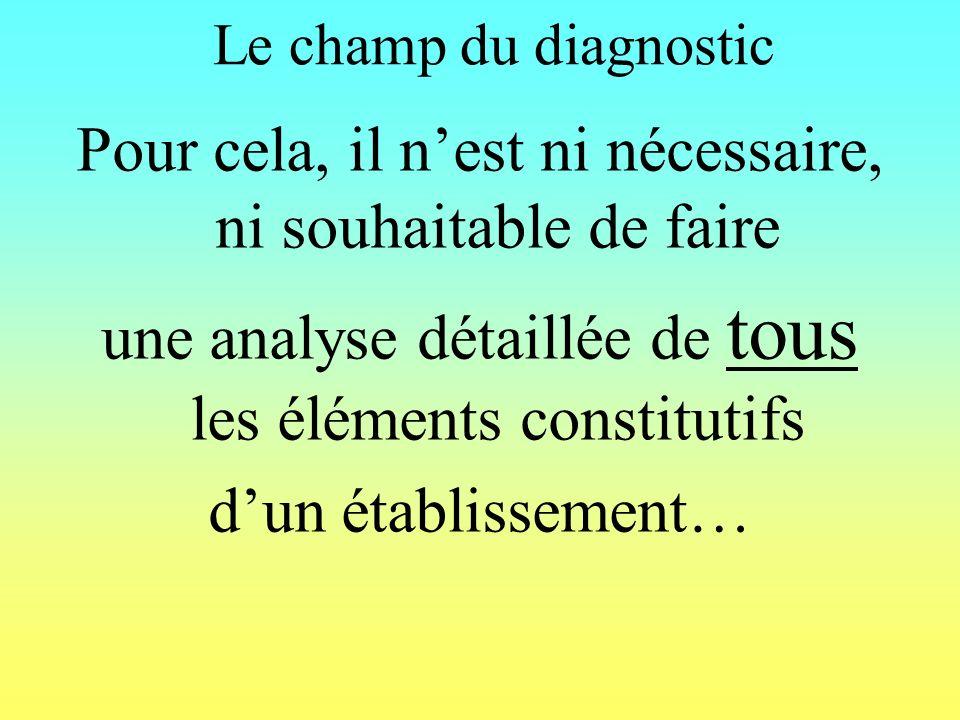 Le champ du diagnostic Pour cela, il nest ni nécessaire, ni souhaitable de faire une analyse détaillée de tous les éléments constitutifs dun établissement…
