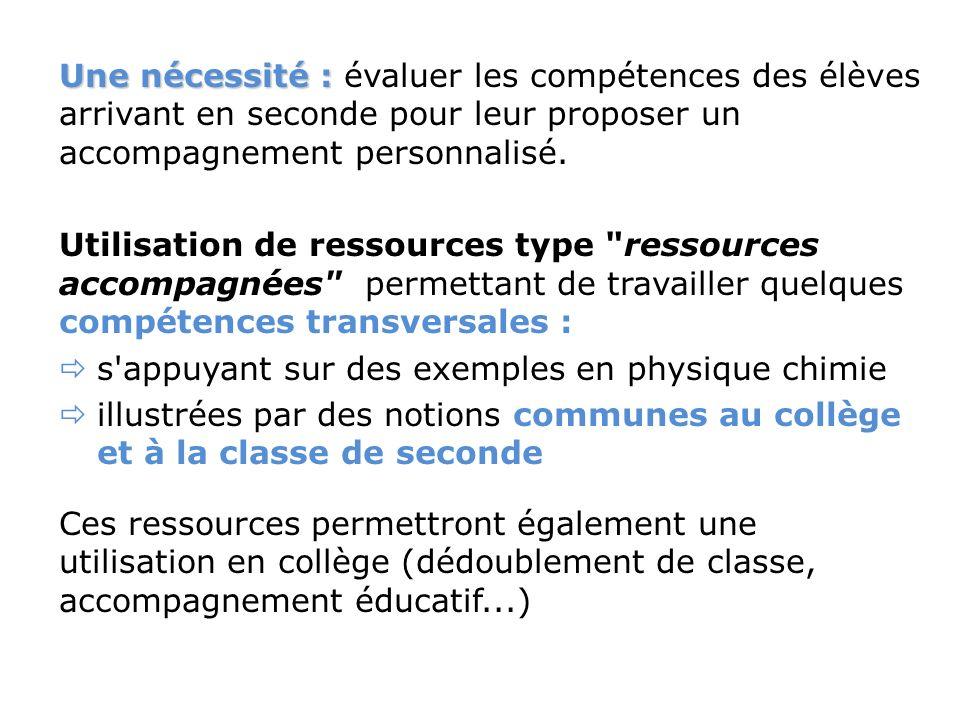Une nécessité : Une nécessité : évaluer les compétences des élèves arrivant en seconde pour leur proposer un accompagnement personnalisé.