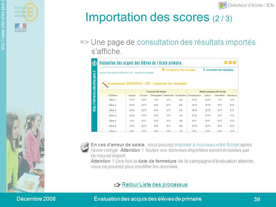 Décembre 2008Évaluation des acquis des élèves de primaire 39 Importation des scores (2 / 3) => Une page de consultation des résultats importés s'affic