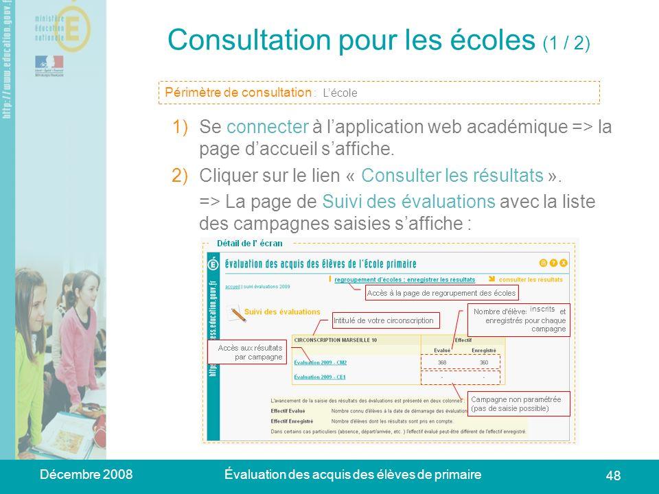 Décembre 2008Évaluation des acquis des élèves de primaire 48 Consultation pour les écoles (1 / 2) 1)Se connecter à lapplication web académique => la p
